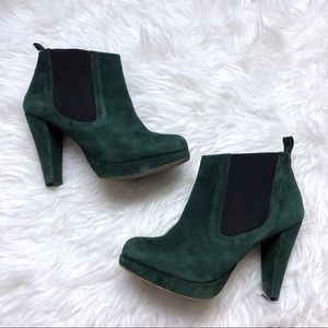 Ganni Shoes - Ganni | Green Suede Heeled Ankle Boot 37